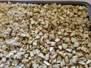 Preparing topping authentic apple crumb cake