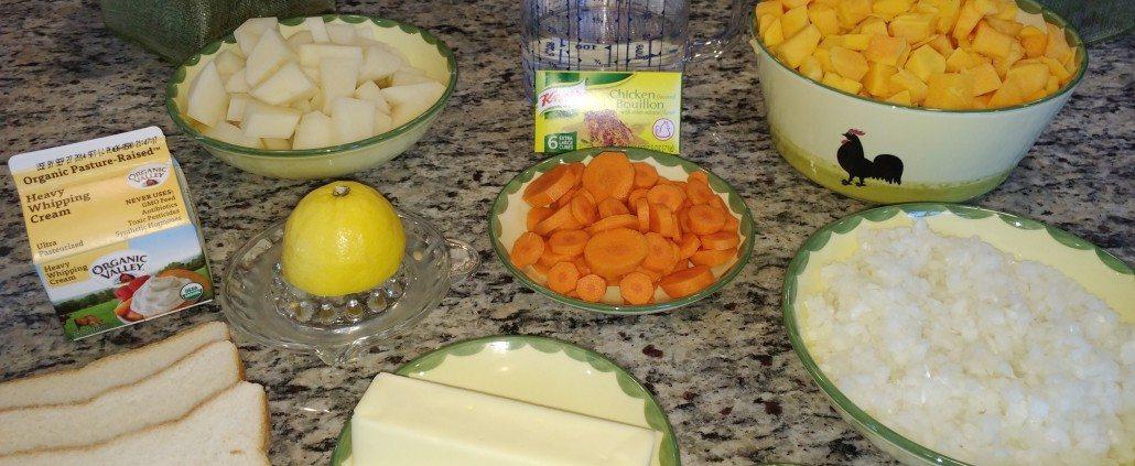 Preparing Butternut Squash Soup recipe