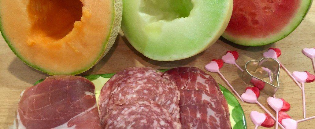 Preparing Melon Prosciutto Salami Appetizer