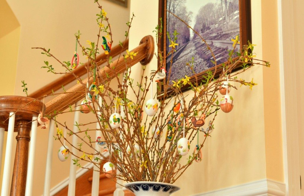 decorated eggs hang on pussy willow