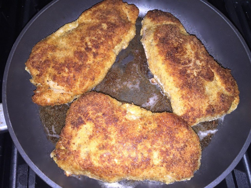 frying of the traditional cordon bleu